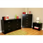 South Shore Maddox Dresser, Chest and Nightstand Set in Pure Black
