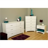 South Shore Maddox Dresser, Chest and Nightstand Set in Pure White