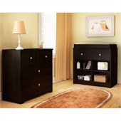 South Shore Little Teddy Country Style 3 Drawer Chest in Chocolate