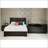 South Shore Mikka Queen Platform Bed 4 Piece Bedroom Set in Black Oak