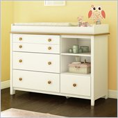 South Shore Little Smiley Changing Table in Pure White & Harvest Maple