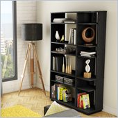 South Shore Equi Contemporary Style Shelf Bookcase in Black Oak