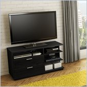 South Shore Equi Contemporary Style TV Stand in Black Oak