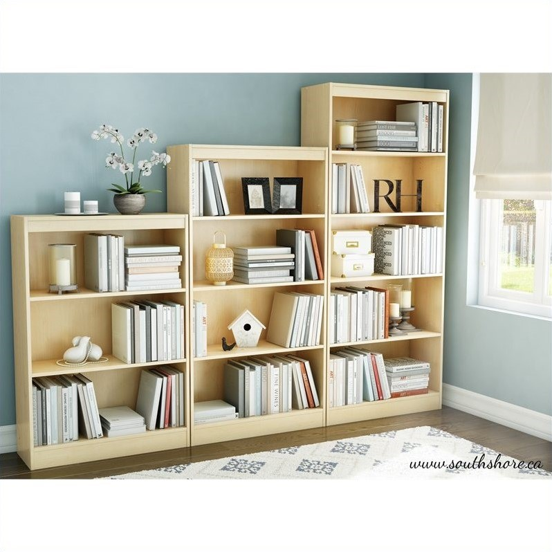 Axess Contemporary Style 3 Piece Shelf Bookcase Set in Natural Maple