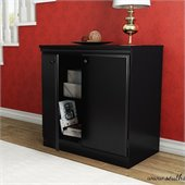 South Shore Morgan Transitional Style Storage Cabinet in Pure Black
