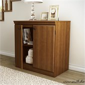 South Shore Morgan Transitional Style Storage Cabinet in Morgan Cherry