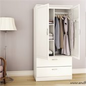South Shore Acapella Transitional Style Wardrobe Armoire in Pure White