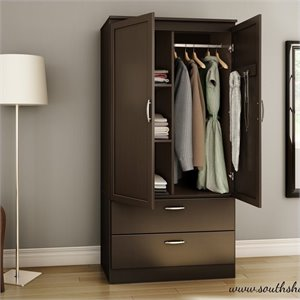 South Shore Acapella Wardrobe Armoire in Chocolate