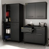 South Shore Karbon 3 Piece Wall Storage Unit in Pure Black and Charcoal