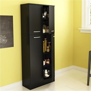 South Shore Fiesta Storage Pantry in Pure Black