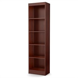South Shore Axess 5 Shelf Narrow Bookcase in Royal Cherry