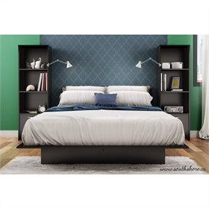South Shore Cosmos 3 Piece Platform Bed with Bookshelf Nightstands in Black