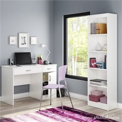 South Shore Axess 2 Piece Office Set with Narrow Bookcase in White