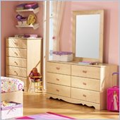 South Shore Lily Rose Double Dresser and Mirror Set in Romantic Pine