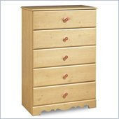 South Shore Lily Rose Kids 5 Drawer Chest in Romantic Pine Finish