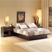 South Shore Back Bay Dark Chocolate Wood Platform Bed 3 Piece Bedroom Set