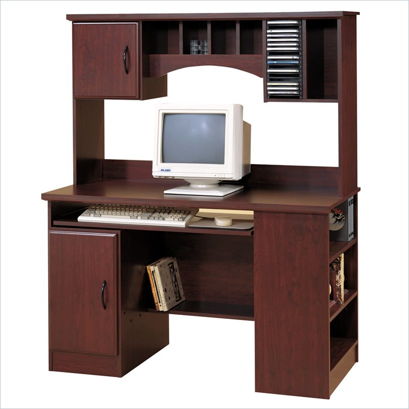 Park Wood Computer Desk with Hutch in Cherry