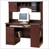 South Shore Park Wood Computer Desk with Hutch in Cherry