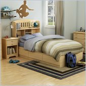 South Shore Newton Kids Twin Wood Mates Storage Bed 3 Piece Bedroom Set in Natural Maple