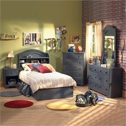 South Shore Summer Breeze Kids Antique Blue Twin Wood Captain's Bed 3 Piece Bedroom Set
