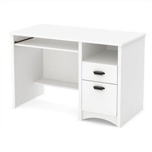 South Shore Gascony Computer Desk with Keyboard Tray in Pure White
