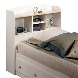 South Shore Newbury Twin Bookcase Headboard in White and Maple