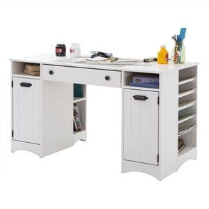 South Shore Artwork Craft Table with Storage in Pure White