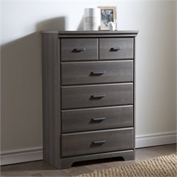 South Shore Versa 5-Drawer Chest in Gray Maple