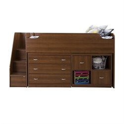 South Shore Mobby Twin Storage Loft Bed with Chest in Morgan Cherry