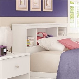 South Shore Litchi Wood Twin Bookcase Headboard in White