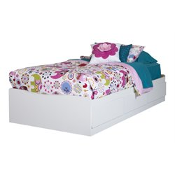 South Shore Logik Wood Twin Mates Bed in White