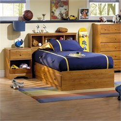 South Shore Amesbury 3 Piece Twin Captain Bedroom Set in Country Pine