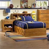 South Shore Amesbury Kids Twin Wood Captain's Bed 3 Piece Bedroom Set in Country Pine