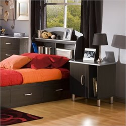 South Shore Cosmos Kids Bookcase Black Headboard 2 Piece Bedroom Set