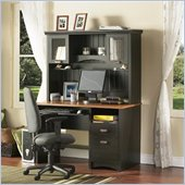 South Shore Gascony Collection Computer Desk with Hutch in Ebony