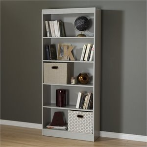 South Shore Axess 5 Shelf Bookcase in Soft Gray