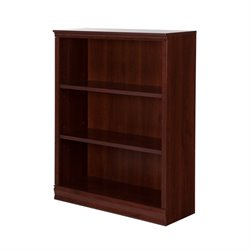 South Shore Morgan 3 Shelf Bookcase in Royal Cherry