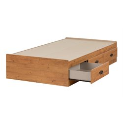 South Shore Prairie Kids Twin Storage Bed Frame Only in Country Pine Finish