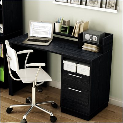 South Shore Academic Desk in Black Oak