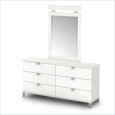 South Shore Affinato Dresser and Mirror Set in White