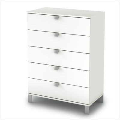 South Shore Affinato 5 Drawer Chest in Pure White Finish