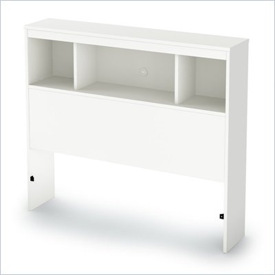 South Shore Affinato Twin Bookcase Headboard in Pure White Finish