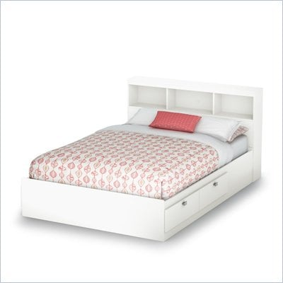 South Shore Affinato Full Bookcase Storage Bed Set in Pure White Finish