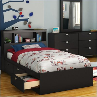 South Shore Affinato Twin Mates Storage Bed Frame Only in Solid Black Finish
