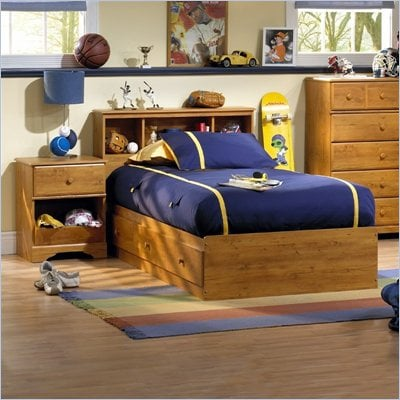 South Shore Amesbury Kids Twin Wood Captain's Bed 5 Piece Bedroom Set in Country Pine