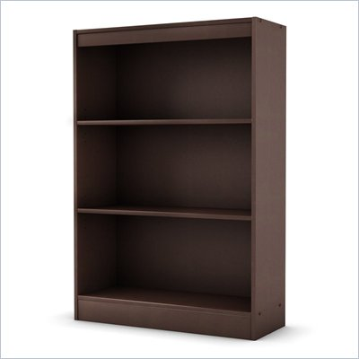 South Shore Axess 3 Shelf Bookcase in Chocolate