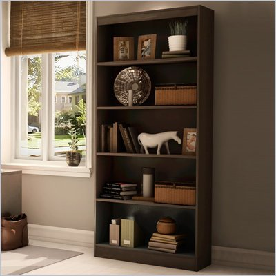 "South Shore Axess 5 Shelf 71""H Wood Bookcase in Chocolate"