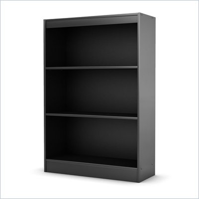 South Shore Axess 3 Shelf Bookcase in Pure Black