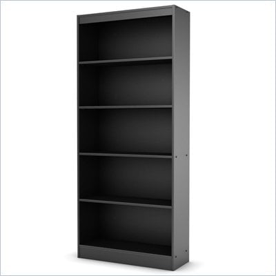 South Shore Axess 5 Shelf Bookcase in Pure Black