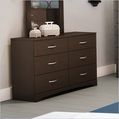 South Shore Back Bay Double Dresser in Dark Chocolate